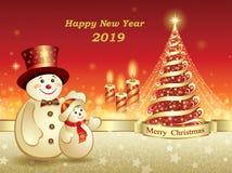Año Nuevo 2019 Tarjeta de felicitación con un árbol de navidad y los muñecos de nieve stock de ilustración