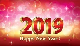 Año Nuevo 2019 Tarjeta de Navidad con el ejemplo brillante del fondo 3d de la fecha que brilla intensamente 2019 ilustración del vector