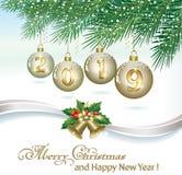 Año Nuevo 2019 Tarjeta de Navidad con las bolas y las campanas stock de ilustración