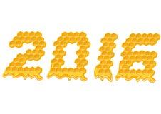 Año Nuevo 2016 Texto de la célula de la abeja de la miel Fotografía de archivo libre de regalías