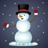 Año Nuevo Toy Character Icon del muñeco de nieve feliz de la historieta Imágenes de archivo libres de regalías