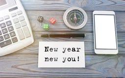 Año Nuevo nuevo usted escrito en el papel Imagenes de archivo