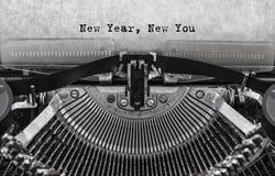 Año Nuevo nuevo usted mensaje mecanografiado Imagen de archivo libre de regalías