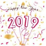 Año Nuevo 2019 velas de confeti stock de ilustración