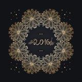 Año Nuevo 2016 vieja inscripción, tex Marco del oro mandala celebre stock de ilustración