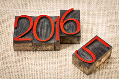 Año Nuevo 2016 viejo el reemplazo Fotografía de archivo libre de regalías