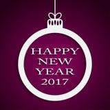 Año Nuevo Violet Background Bola de la Navidad 2017 Fotos de archivo libres de regalías