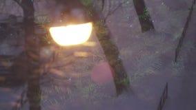 Año Nuevo Vista de una farola durante las nevadas a través del vidrio en cuál se refleja la nueva Navidad conveniente adornada almacen de video