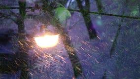 Año Nuevo Vista de una farola durante las nevadas a través del vidrio en cuál se refleja la nueva Navidad conveniente adornada almacen de metraje de vídeo