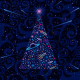 Año Nuevo y árbol de navidad. Fondo cósmico libre illustration