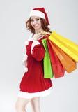 Año Nuevo y concepto e ideas de la Navidad Rojo caucásico sonriente Fotografía de archivo
