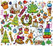 Año Nuevo y conjunto de la Navidad stock de ilustración