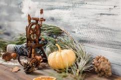 Año Nuevo y decoración del invierno de la Navidad con las ramas del abeto Foto de archivo
