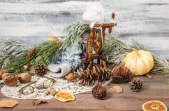Año Nuevo y decoración del invierno de la Navidad con las ramas del abeto Imagen de archivo