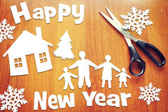 Año Nuevo y familia feliz Foto de archivo libre de regalías