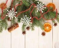 Año Nuevo y fondo de la Navidad con los árboles de navidad Fotos de archivo libres de regalías