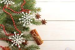 Año Nuevo y fondo de la Navidad con los árboles de navidad Fotografía de archivo libre de regalías