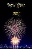 Año Nuevo 2015 y fondo del fuego artificial Fotos de archivo libres de regalías