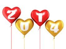Año Nuevo 2014 y globos coloridos del corazón Fotografía de archivo libre de regalías