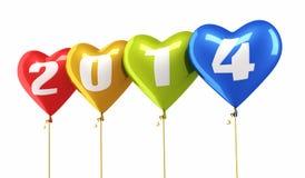 Año Nuevo 2014 y globos coloridos del corazón Foto de archivo