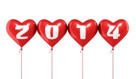 Año Nuevo 2014 y globos rojos del corazón Imagen de archivo