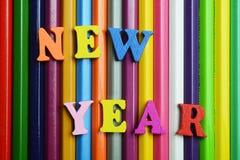 Año Nuevo y lápices Imagen de archivo