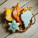 Año Nuevo y la Navidad del pan de jengibre Imágenes de archivo libres de regalías