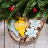 Año Nuevo y la Navidad del pan de jengibre Fotografía de archivo