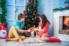 Año Nuevo y la Navidad en el círculo familiar Foto de archivo