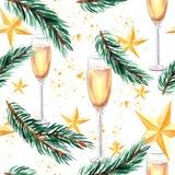 Año Nuevo y modelo inconsútil de la Navidad con el vidrio del champán, la rama spruce y las estrellas de oro de la Navidad Imagen de archivo libre de regalías