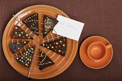 Año Nuevo y pan de jengibre de los árboles de navidad y x28; cooki del jengibre y de la miel Imagen de archivo