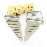 Año Nuevo 2016 y pila del dólar de USD Imagen de archivo libre de regalías