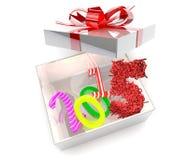 Año Nuevo 2015 y saludos de la Feliz Año Nuevo en la caja de regalo Imágenes de archivo libres de regalías