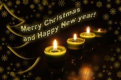 Año Nuevo y tarjeta de Navidad con el saludo Foto de archivo libre de regalías