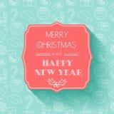Año Nuevo y tarjeta de Navidad Diseño plano Fondo inconsútil tipografía Sombra Fotos de archivo