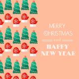 Año Nuevo y tarjeta de Navidad Tipografía caligráfica Congratulatorio, tarjeta de la invitación Diseño plano Inscripción en estil Fotografía de archivo