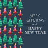 Año Nuevo y tarjeta de Navidad Tipografía caligráfica Congratulatorio, tarjeta de la invitación Diseño plano Vector Imagen de archivo libre de regalías