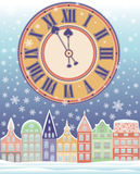 Año Nuevo y tarjeta del invierno de la Feliz Navidad con el reloj Foto de archivo libre de regalías