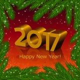 Año Nuevo 2017 y un marco del árbol de abeto Fotos de archivo libres de regalías