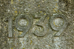 Año 1939 tallado en piedra Los años de Segunda Guerra Mundial Fotografía de archivo