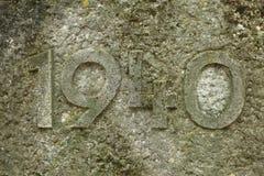 Año 1940 tallado en piedra Los años de Segunda Guerra Mundial Foto de archivo