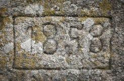 Año 1858 tallado en una piedra Fotografía de archivo libre de regalías