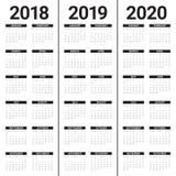 Año 2018 2019 vector de 2020 calendarios Fotografía de archivo libre de regalías