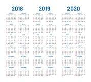 Año 2018 2019 vector de 2020 calendarios Fotos de archivo libres de regalías