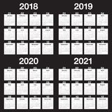Año 2018 2019 2020 vector de 2021 calendarios Imagen de archivo