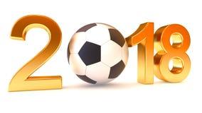 Año 2018 y balón de fútbol Imágenes de archivo libres de regalías