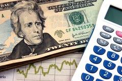 Años 20 de la calculadora de la planificación financiera Imagen de archivo libre de regalías