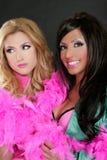 Años 80 rosados del barbie de las muchachas de la manera de la boa de pluma retros Imagen de archivo libre de regalías