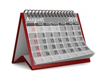 2019 años Calendario para el ejemplo de August Isolated 3D stock de ilustración