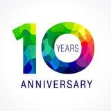 10 años coloreados ilustración del vector